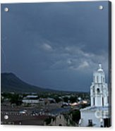 San Xavier Mission With Lightning Acrylic Print