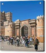 Sanaa Old Town Busy Street In Yemen Acrylic Print