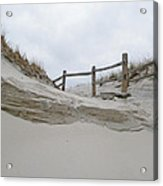 Sand Dune And Fence Acrylic Print