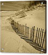 Sand Dunes And Fence Acrylic Print