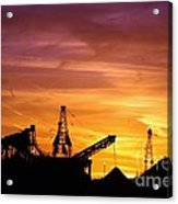 Sand Pit Silhouette  Sunset With Red And Yellow Sky Acrylic Print