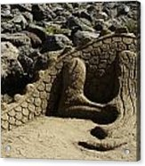 Sand Sculpture Dragon With Flaming Nostrils Acrylic Print