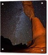 Sandstone Arch Meets Milky Way Skies Acrylic Print by Mike Berenson