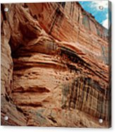 Sandstone Cliff In Canyon De Chelly 1993 Acrylic Print by Connie Fox