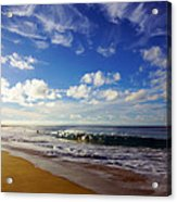 Sandy Beach Morning Rainbow Acrylic Print