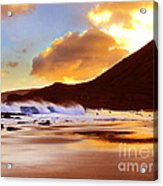 Sandy Beach Sunset Acrylic Print