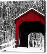Sandy Creek Cover Bridge With A Touch Of Red Acrylic Print
