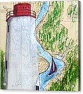 Sandy Hook Lighthouse Nj Chart Map Art Peek Acrylic Print