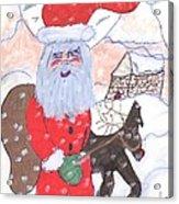 Santa And His Reindeer Acrylic Print