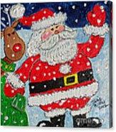 Santa And Rudolph Acrylic Print