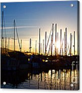 Santa Barbara Harbor With Yachts Boats At Sunrise In Silhouette Acrylic Print