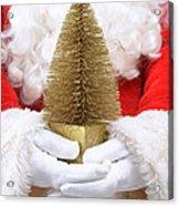 Santa Claus Holding Christmas Tree Acrylic Print