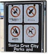 Santa Cruz Beach Sign At The Santa Cruz Beach Boardwalk California 5d23840 Acrylic Print by Wingsdomain Art and Photography