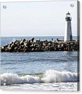 Santa Cruz Lighthouse Wave Wide Acrylic Print by Barbara Snyder