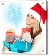 Santa Girl With Gifts Acrylic Print