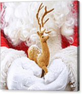 Santa Holding Reindeer Figure Acrylic Print