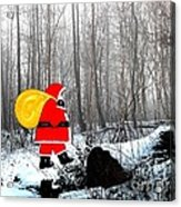Santa In Christmas Woodlands Acrylic Print