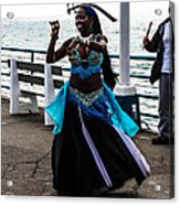 Santa Monica Belly Dancer Acrylic Print