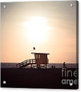 Santa Monica Lifeguard Stand Sunset Photo Acrylic Print