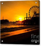 Santa Monica Pier California Sunset Photo Acrylic Print by Paul Velgos