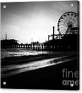 Santa Monica Pier In Black And White Acrylic Print by Paul Velgos