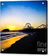 Santa Monica Pier Pacific Ocean Sunset Acrylic Print by Paul Velgos