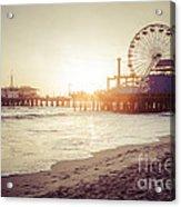 Santa Monica Pier Retro Sunset Picture Acrylic Print