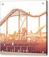 Santa Monica Pier Roller Coaster Panorama Photo Acrylic Print
