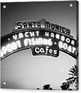 Santa Monica Pier Sign In Black And White Acrylic Print by Paul Velgos