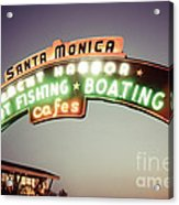 Santa Monica Pier Sign Retro Photo Acrylic Print