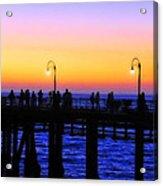 Santa Monica Pier Sunset Silhouettes Acrylic Print