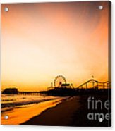 Santa Monica Pier Sunset Southern California Acrylic Print by Paul Velgos