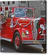 Santa On Fire Truck Acrylic Print