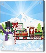 Santa On Train With Snow Scene Acrylic Print