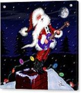 Santa Plays Guitar In A Snowstorm 2 Acrylic Print