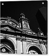 Santiago Metropolitan Cathedral Next To Modern Glass Clad Office Block Chile Acrylic Print
