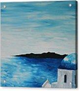 Santorini Blue Dome Acrylic Print