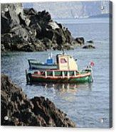 Santorini Boats Acrylic Print