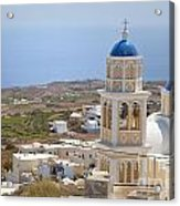 Santorini Church Overlooking The Sea Acrylic Print