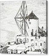 Santorini Windmill Acrylic Print