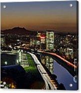 Sao Paulo Skyline At Dusk - Jockey Club - Pinheiros River Towards Pico Do Jaragua Acrylic Print