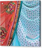 Saree In The Market Acrylic Print