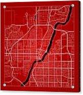 Saskatoon Street Map - Saskatoon Canada Road Map Art On Color Acrylic Print