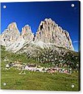 Sassolungo From Sella Pass Acrylic Print