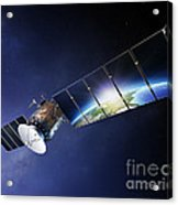 Satellite Communications With Earth Acrylic Print by Johan Swanepoel