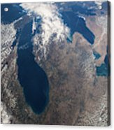 Satellite View Of Great Lakes Acrylic Print