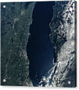 Satellite View Of Lake Michigan Acrylic Print