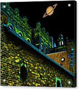 Saturn Over Pabst Brewery Fantasy Image Of Abandoned Home Of Blue Ribbob Beer From 1860  Acrylic Print