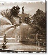 Savannah Fountain In Sepia Acrylic Print