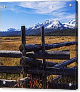 Sawtooth Mountains And Wooden Fence Acrylic Print